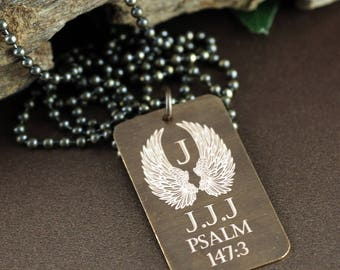 Personalized Memorial Mens Necklace, Vintage Men's Necklace, Sympathy Gift, Dog Tag Necklace, Angel Wing Necklace, Psalm, Bereavement Gift