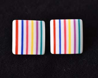 Vintage 80s Rainbow Square Statement Earrings Clip On Mod Retro Costume Jewelry .75""