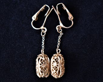 Vintage Ornate Dangle Statement Earrings Cut Out Gold Tone Boho 70s Retro Costume Jewelry 2""