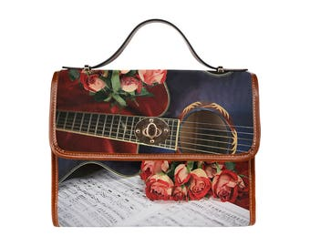 Waterproof Canvas Bag- Quitar, Roses and Score