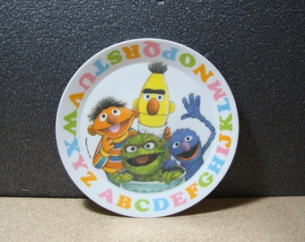 1977 Sesame Street Children's Hard Plastic Lunch Plate with Alphabet, Ernie, Grover, & More!  Fun Vintage Collectible Plate Muppets Inc.