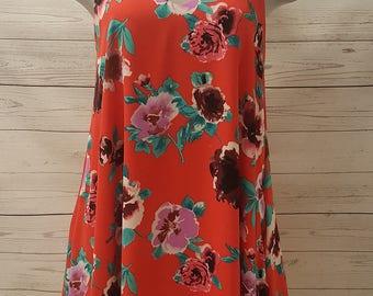 Red Floral Print Spaghetti Strap V Neck Dress with Pockets