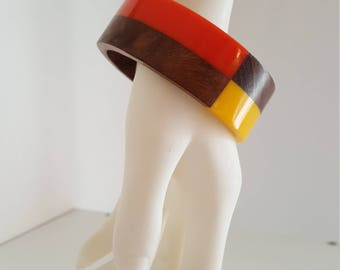 Mod 1960s Laminated Wood and Lucite Bangle - Orange and Yellow - Vintage Pop