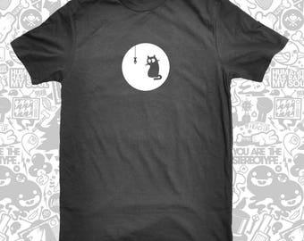 Cat and Fish T-Shirt Black Cat T-Shirt Animal Shirt Funny Shirt Cute Shirt Cat T-Shirt Silkscreen Graphic Tee Women Men Kids S-3XL T-Shirt