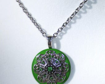 Green Rhinestone Button Necklace, Green Rhinestones, Pendant Necklace, Jewelry, Button Necklace, Pendant Necklace, 24 inch Silver Chain
