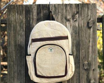 Natural Pure Hemp backpack, Padded Laptop, Side Pocket