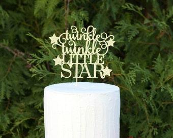Twinkle twinkle little star cake topper, baby shower cake topper, gender reveal topper, Twinkle Twinkle Little Star Party, 1st Birthday Cake