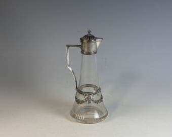 Darling Vintage Glass and Silver Plate Pitcher Silverplate