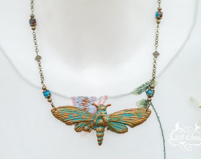 Death's-head hawkmoth necklace Patina 8.5 cm