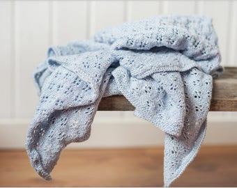 NEW! Ice Blue baby alpaca silk blanket - Baby shower gift - Boy bedding - Blue throw - Blue knit blanket - Knitted baby blanket,Kids blanket