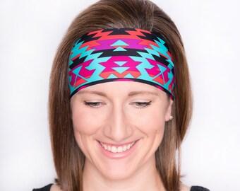 Bright Aztec Headband - Yoga Headband - Women's Headband - Fitness Headband