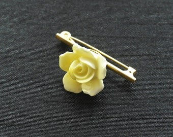 Vintage Yellow Rose Brooch