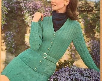 Cardigan and Skirt Knitting Pattern, Vintage Knitting Pattern, Patons Knitting Pattern, Ladies Lace Skirt, Ladies Lace Cardigan, No. 6180