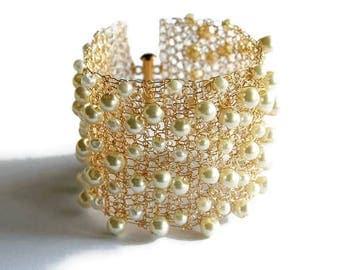 Pearl Cuff Bracelet, Bridal, Wide Cuff, Gold, Wedding Bracelet, Statement Bracelet, Wire Crochet Jewelry, Chunky, Ivory Pearl