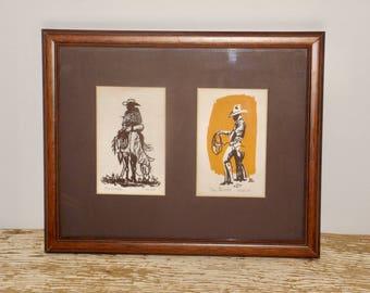 Bon Framed Cowboy Prints,wood Frame,western Wall Decor,cowboys Decor,horse Decor