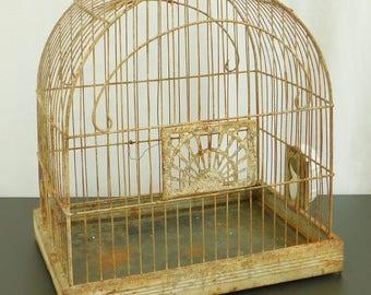 Vintage Crown Metal Birdcage, Art Deco, Milk Glass, Distressed, Garden Decor, Wedding, Cottage, Coastal, Shabby, Farmhouse, Country