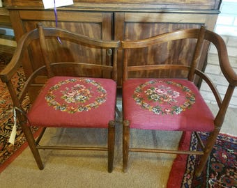 Pair of Antique Chin-Warmer chairs---by the fireplace done in beautiful needlepoint and great condition.