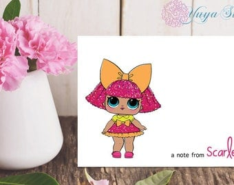 LOL Surprise Doll Glitter Thank You Cards / LOL Girl note cards /LOL Girl Stationery Set / Set of 12