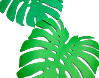 Decorate your Jungle theme Birthday Party, Safari Theme Party, Tropical theme, Zoo theme Party with Jungle Monstera Leaves. Set of 10