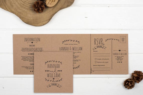 Rustic Wedding Invitation - Double-Folded Brown Kraft