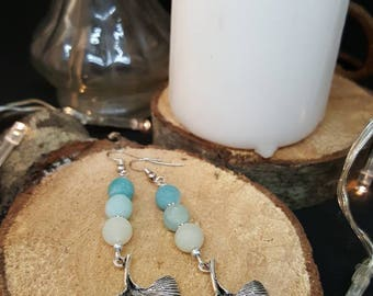 Earrings Gingko & Amazonite - Bohemian - gems - natural stone - green - leaf - gingko biloba - gypsy - hippie - Valentine's day