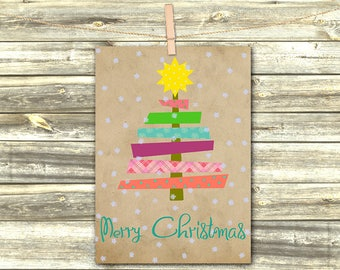 Christmas Party, Christmas Cards, Xmas Card, Christmas Digital Prints, Holiday Cards, Printable Greeting Card, Christmas Tree