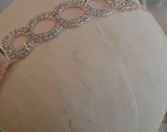 Custom Made Dupioni Silk Rhinestone Bracelet / Wedding Headband / Silk / Dupioni Silk Bracelet w Rhinestones / Pink Chanel Pattern Rhineston