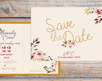 Save the Date - Elegant wedding - Elegant save the date postcard, french save the date, save the date vintage