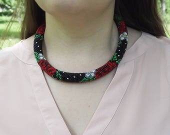 black flower necklace gift nature floral necklace red flower rose necklace for mom native necklace multistrand dainty necklace beaded gift