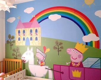 Peppa pig Wallpaper for kid's room wallpaper decal