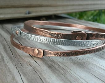 Three mixed metal upcycled riveted copper and aluminum bangle bracelets