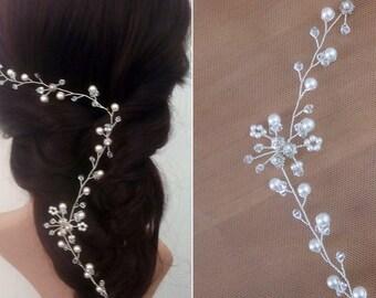 Bridal Head Piece Wedding, hair Vine Wedding, Bridal Hair Vine, Bridal Hair Piece, Pearl Hair Vine, Bridal Head Vine, Long Wedding Hair Vine