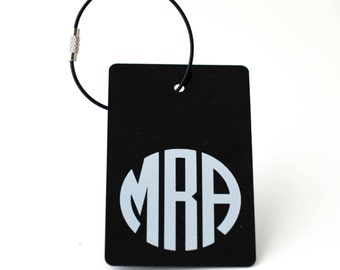 Luggage Tag - FREE SHIPPING, Black and White Monogram Luggage Tag, Personalized Luggage Tag, Custom Luggage Tag, Personalized Gift