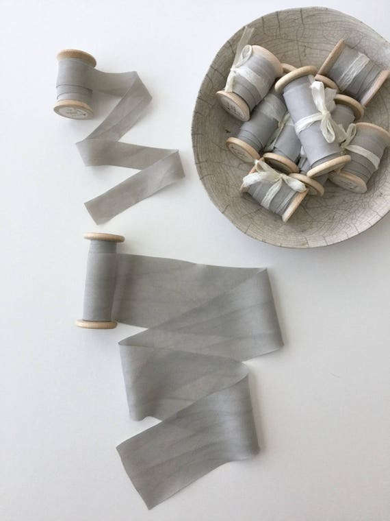 "SILVER GRAY Plant Dyed Silk Ribbon - natural hand dyed for bridal bouquet, invitations, styling - (0.75"" or 2.25"" wide)"