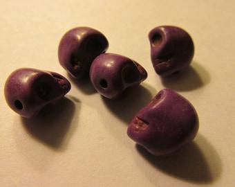Carved Purple Mini Skull Beads, 8mm, Set of 5