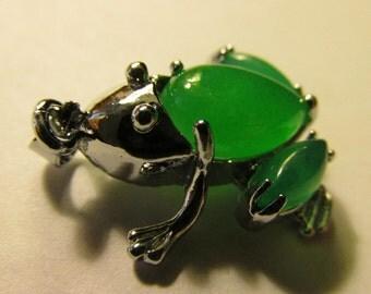 "Green Jade Good Fortune Mini Frog Charm-Pendant, 1"""