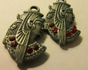 "Egyptian King Tut Metal Charms with Red Rhinestones, 1 1/4"", Set of 2"