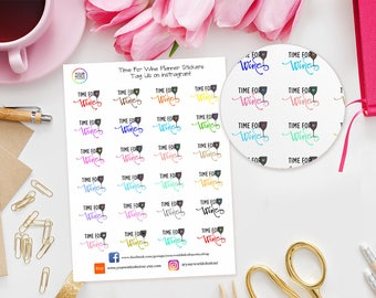 Time For Wine Planner Stickers for Erin Condren Life Planner, Happy Planner, Kate Spade, TN, Filofax, Recollections, Wine, Night Out