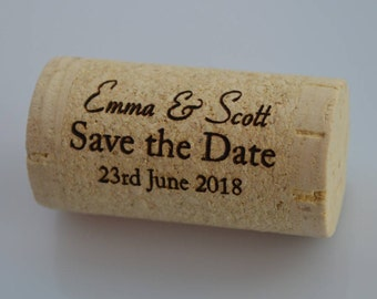 Personalized Save the Date Cork, Whole Wine Corks, Parties, Wedding,  Special Occasion