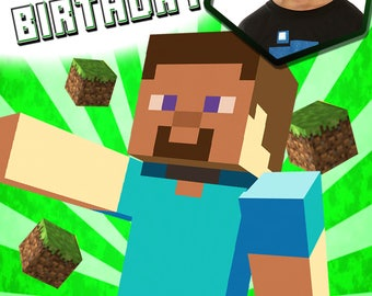 Minecraft photo personalised Birthday Greetings card with free envelope and postage!