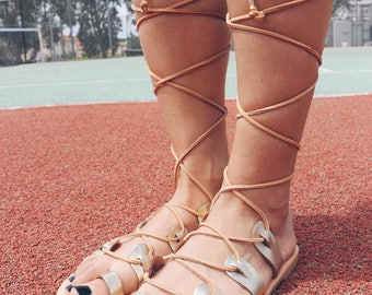 Gladiator Sandals, Gladiator Leather Sandals, Gold Sandals, Ancient Sandals, Summer Shoes, Made in Greece from 100% Genuine Leather.