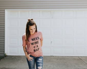 Wine Shirt for Women, Wine shirt, Wine gift, birthday gift, Drink wine, Funny Wine Shirts, Women Graphic Tee, Nap Shirt, New Mom Gift, Naps