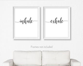 Inhale Exhale / Yoga art for bedroom / Pilates gift / Inhale exhale poster / Yoga wall print / Studio poster /