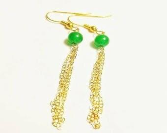 Emerald Gemstone Gold Filled Tassell Dangle Earrings, Emerald Earrings, Emerald Tassell, Green and Gold Earrings, Gold Tassell Earrings