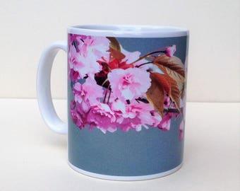 Original design 'Cherry Blossom' hand printed  10oz ceramic mug