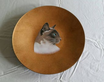 antique copper metal enamel siamese cat collector plate signed by alexander of california - studio art siam wall hanging metalware dish cats