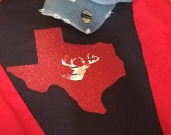 Glitter Texas with floral deer head raglan (plus size available)