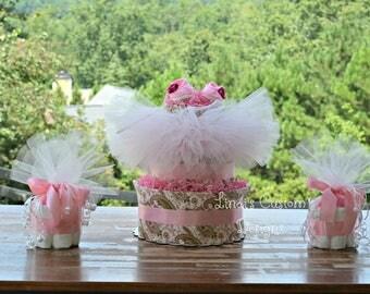 Paisley Ballerina Girl Diaper Cake Table Centerpiece Decoration Set, Girl Baby Shower Diaper Cake, Mini Diaper Cupcakes, Table Decorations