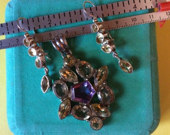 Fabulous Sterling Amethyst and Citrine Pendant and Earrings Set