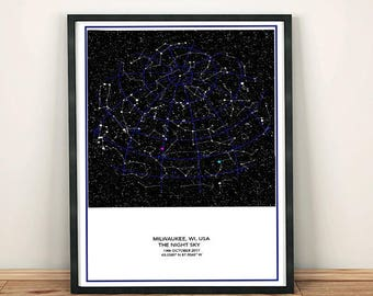 Custom Star Map, A New Design more detailed representation View night sky any date City. Personalize, Choose Constellations/Grid/Stars